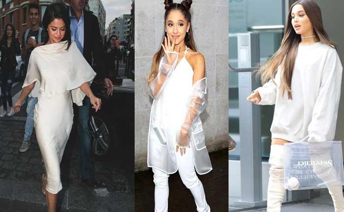 Selena Gomez Ariana Grande Miley Cyrus White Outfit