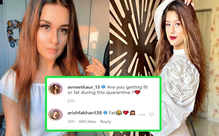 Arishfa Khan on Avneet Kaur fit fat post