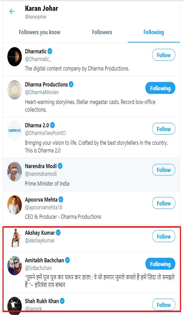 Karan Johar follows Twitter account