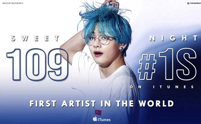 BTS V Sweet Night 109 countries