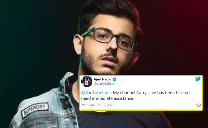 CarryMinati YouTube channel hacked