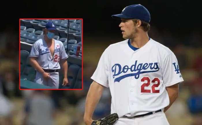 Dodgers pitcher adjusting himself video