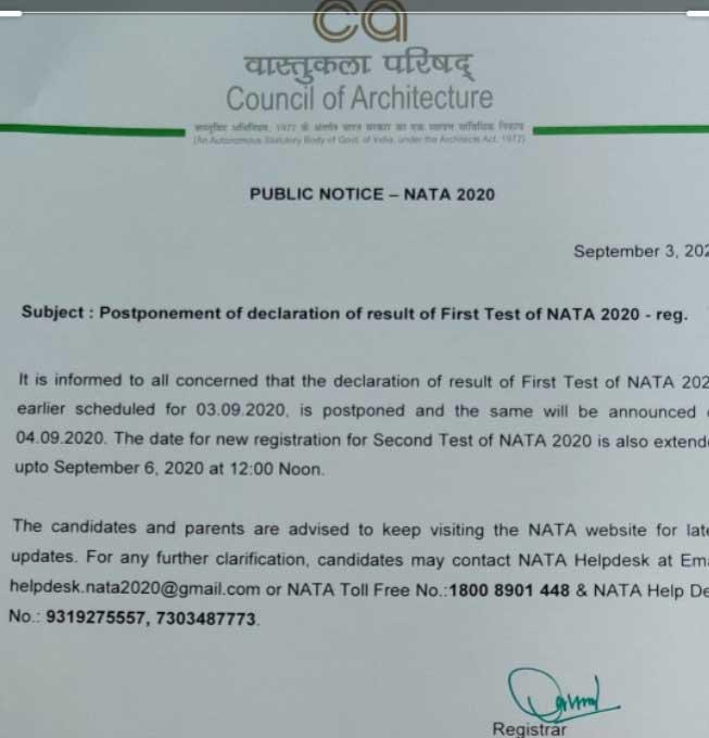 NATA Public Notice